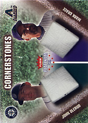 2002 Fleer Platinum #24CS Cornerstones White Letters SN#0976/1000 with John Olerud