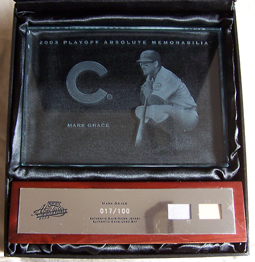 2003 Playoff Absolute Memorabilia Glass Plaques Jersey/Bat SN#017/100