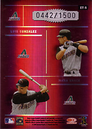 2004 Donruss Elite #ET-5 Elite Team Red SN#0442/1500 with Curt Schilling, Randy Johnson and Luis Gonzalez