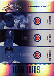 2004 Playoff Absolute Memorabilia #TTR-14 Team Trios Spectrum SN#04/25 with Sammy Sosa and Ryne Sandberg