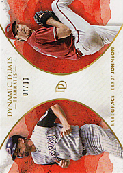 2018 Topps On Demand #15 Dynamic Duos Teammates with Randy Jphnson Red SN#07/10