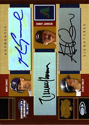 2004 Donruss World Series #ST-4 Signature Trios Triple Autograph with Randy Johnson & Steve Finley SN#4/5