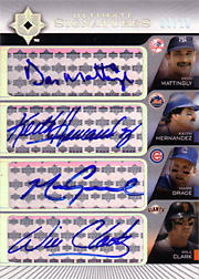 2004 Upper Deck Ultimate Collection #QS-MHGC Ultimate Signatures Quad Autographs with Don Mattingly, Keith Hernandez & Will Clark SN#01/10