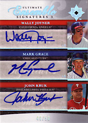 2006 Upper Deck Ultimate Collection #UES3-KGJ Ultimate Ensemble Signatures 3 Triple Autographs w/Wally Joyner & John Kruk SN#40/50