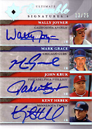 2006 Upper Deck Ultimate Collection #UES4-34 Ultimate Ensemble Signatures 4 Quad Autographs w/Wally Joyner, John Kruk & Kent Hrbek SN#13/25