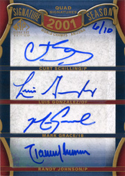 2012 Upper Deck SP Signature Edition Sogmatire Season Quad Autographs #SS4-01WS with Curt Schilling, Luis Gonzalez, Randy Johnson SN#06/10