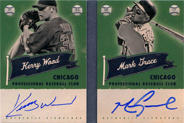 2013 Panini America's Pastime Superstar Scripts Silver Dual Autograph Booklet Red #CHC with Kerry Wood SN#3/5