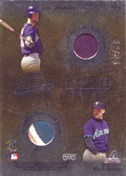 2002 Playoff Absolute Memorabilia #TQ-2 Team Quads Gold Quad Jerseys SN#20/25 with Curt Schilling, Randy Johnson and Luis Gonzalez