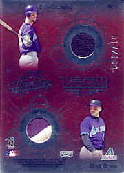 2002 Playoff Absolute Memorabilia #TQ-2 Team Quads Quad Jerseys SN#017/100 with Curt Schilling, Randy Johnson and Luis Gonzalez