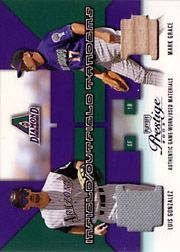 2003 Playoff Prestige #IT-2 Infield/Outfield Tandems Jersey/Bat SN#017/200 with Luis Gonzalez