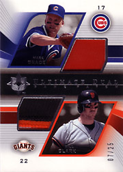 2004 Upper Deck Ultimate Collection #DGP-GC Ultimate Dual Game Patches SN#07/25 with Will Clark