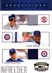 2005 Donruss Throwback Threads #G8 Generations Triple Jersey SN#39/50 with Wade Boggs & Hank Blalock