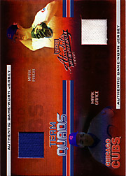 2005 Playoff Absolute Memorabilia TQ-19 Team Quads Spectrum SN#24/35 with Andre Dawson, Ron Santo and Mark Prior