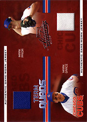 2005 Playoff Absolute Memorabilia #TQ-19 Team Quads Jerseys/Bat SN#054/100 with Andre Dawson, Ron Santo and Mark Prior