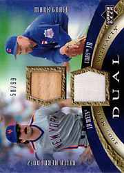 2005 Upper Deck MLB Artifacts #DA-HG Dual Artifacts Bat/Jersey SN#50/99 with Keith Hernandez