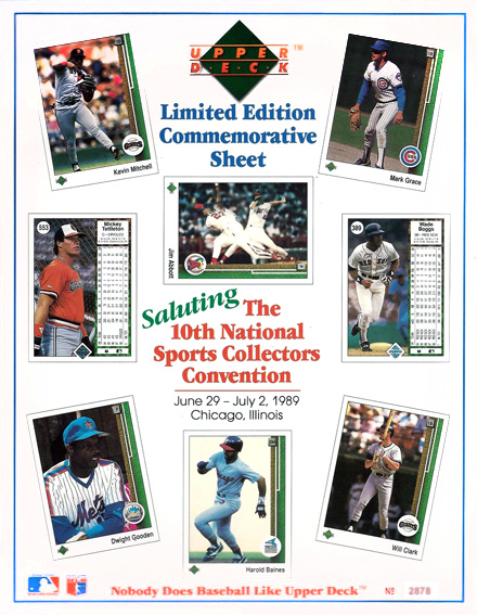1989 Upper Deck Commerative Sheet 10th Annual National #2878/15000